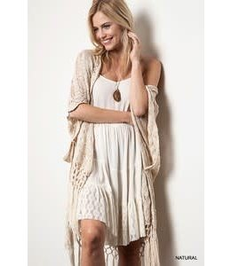 Kori America CROCHET KNIT FRINGE SWEATER