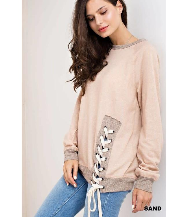 Kori America SIDE LACE UP  TERRY TOP