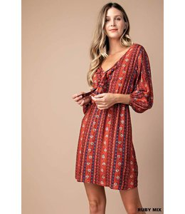 Kori America Tie Front Flower Striped Dress