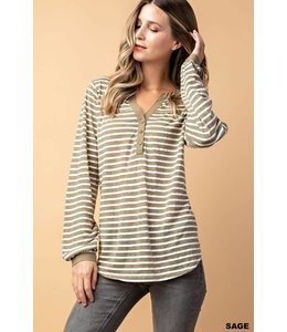 Kori America Stripe Long Sleeve Knit Top