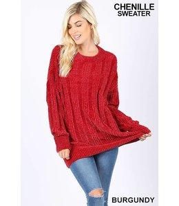 Zenana Oversized Cable Knit  Chenille Sweater