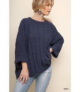 Umgee Cuffed Sleeve Chenille Sweater