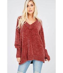 Wishlist Oversize LS Chenille V-Neck Pullover