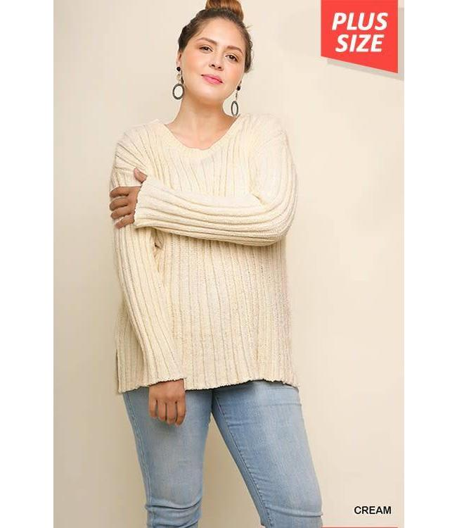 Umgee ge-241474 Chenille Knit Pullover