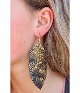 Caroline Hill Faux Leather Feather Earrings