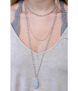 Caroline Hill n12727 Triple Layer Druzy Stone Necklace