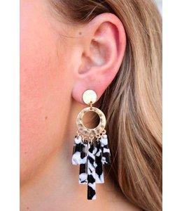 Caroline Hill e12767 Hammered Metal/Resin Earrings