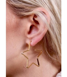 Caroline Hill E13614 Simple Star Hoop Gold