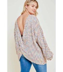 Hayden Plunging Twist-Back Knit Sweater