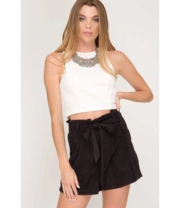 She + Sky Paperbag Suede Shorts