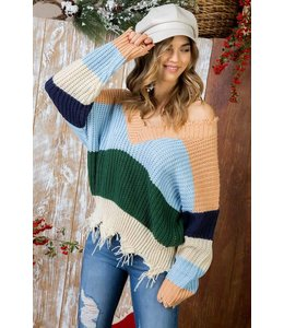Main Strip Distressed Hem V-Neck  Sweater