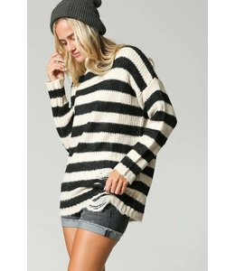 Soul Threads Striped Sweater w/ Distressted Detail