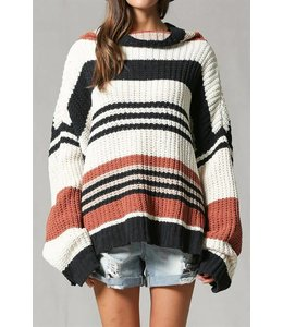 By Together Stripped Turtle Neck Sweater  L2621