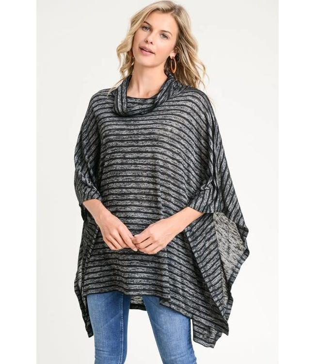 Doe & Rae Striped Poncho 9357T