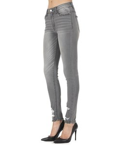 Kan Can Grey Distressed Skinny Jeans