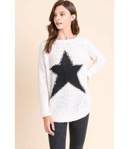 Doe & Rae Fuzzy Star Sweater 1494C