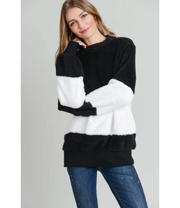 Doe & Rae Faux Fur Stripe Sweater