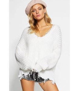 BiBi Frayed V-neck Sweater
