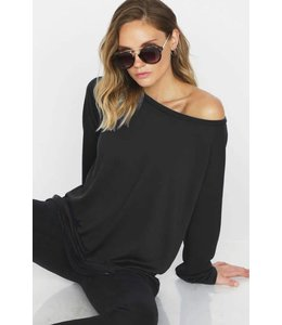 BiBi Wide Neck Front Terry Top