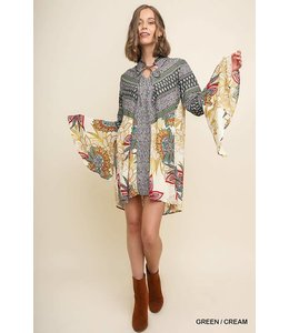Umgee Floral Bell Sleeve Dress G1941