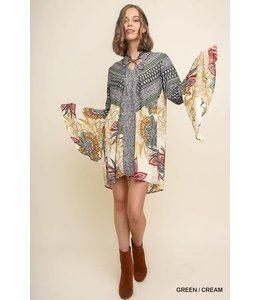 Umgee Floral Bell Sleeve Dress