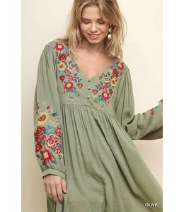 Umgee Embroidered Babydoll Dress