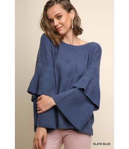 Umgee Layered Ruffle Sleeve Sweater A4287