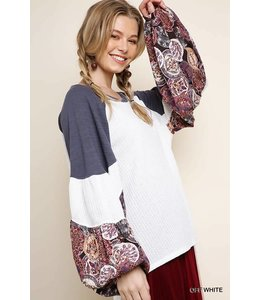 Umgee Waffle Knit Top w/ Floral Sleeves