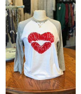 District Heart Lips Baseball Tee