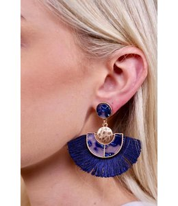 PODOS Navy Tassel Earrings