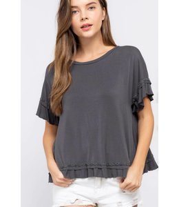 PODOS Ruffle Trim Top
