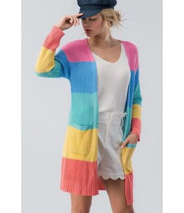 PODOS Color Block Open Cardigan
