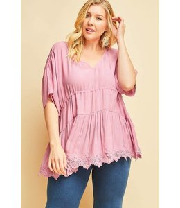 PODOS Babydoll Top w/ Lace Detail