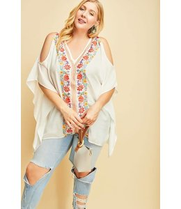 PODOS Embroidered Cold Shoulder Top