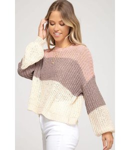 PODOS Bubble Sleeve Color Block Sweater
