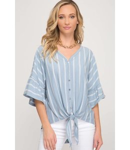 PODOS Ruffle Sleeve Tie Front Top