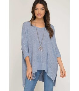 PODOS 3/4 Sleeve Hi-Lo Sweater