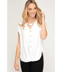 PODOS Drop Shoulder Twisted Front Top