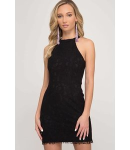 PODOS Sleeveless Lace Mini Dress