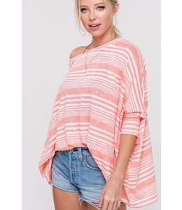 PODOS Slouchy Striped Sweater Top