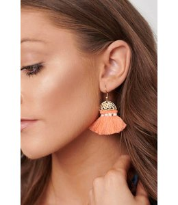 PODOS Rose Tassel Earrings