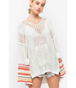 PODOS Apparel Loose Weave Sweater w/ Colorful Sleeve Detail