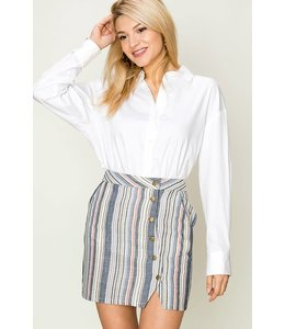 PODOS Apparel Multi Stipe Side Button Mini Skirt