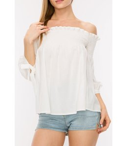 PODOS Apparel Off-Shoulder Elastic Smocked Top
