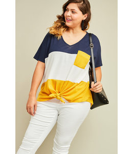 PODOS Light Weight Knit Color Block Top