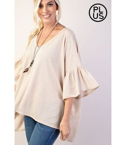 PODOS Ruffle V-Neck Loose Fit Top
