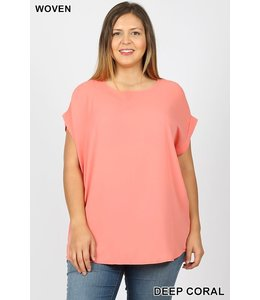 PODOS Rolled Sleeve Boat Neck Top