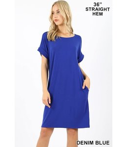 PODOS Rolled Sleeve Round Neck Dress