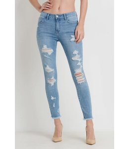 PODOS Distressed Skinny Jean w/ Frayed Hem