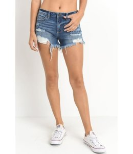 PODOS Mid Rise Destroyed Shorts